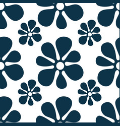 repeating abstract flowers and round dots cute vector image