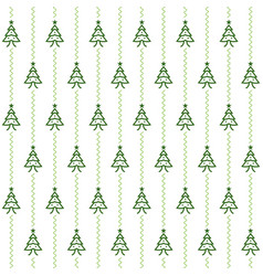 seamless green and white christmas trees pattern vector image