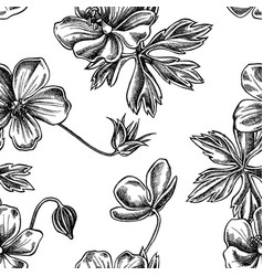seamless pattern with black and white meadow vector image