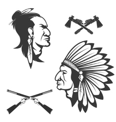 Set of american native chief heads American vector