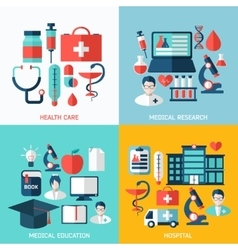 Set of bright flat medical icons vector