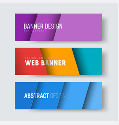 set of horizontal web banners with multi-colored vector image