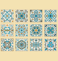 Set of portuguese tiles vector