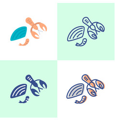 shellfish icon set in flat and line style vector image