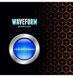 Silver button with sound wave sign on unusual grid vector
