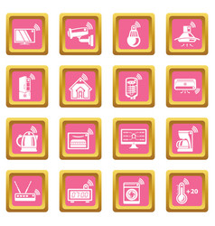 Smart home icons set pink square vector