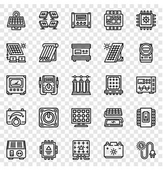Solar energy icon set outline style vector