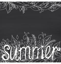 Summer lettering on chalkboard background vector image