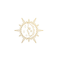 sun and moon with face silhouette linear vector image