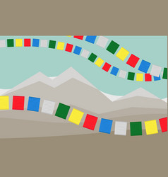 The mountains with colorful tibetan prayer flags vector