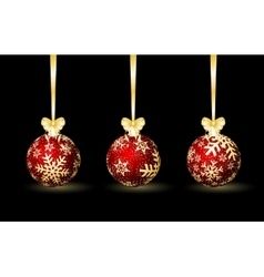 Three red Christmas spheres vector image
