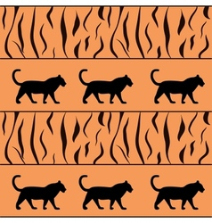 tiger background with silhouette vector image