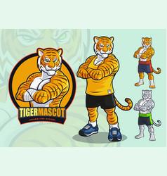 tiger mascot for spots and martial arts logo vector image
