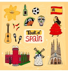 Tour of Spain hand-drawn vector image