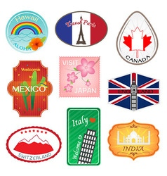 Travel Stickers Design Collection vector image