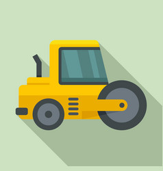 Vehicle road roller icon flat style vector