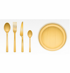 Wooden cutlery and round tray for pizza vector