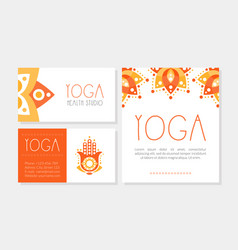 yoga health studio cards collection spa center vector image