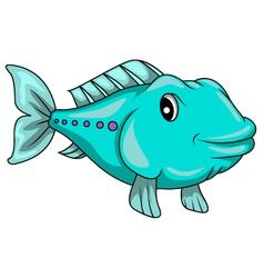 cute blue fish cartoon vector image vector image