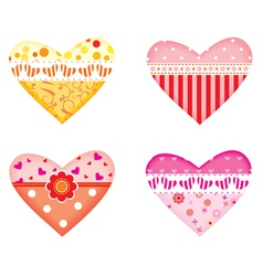 ornamental colorful hearts vector image