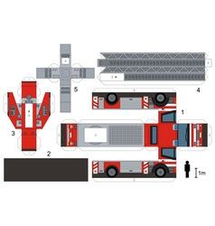 Paper model of a fire truck vector image