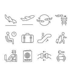 Airport navigation icons set vector image