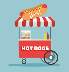 hot dogs street cart vector image vector image