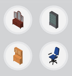 Isometric design set of cupboard office drawer vector