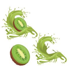 kiwi fruit splash vector image