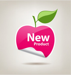 Sticker pink apple price tag vector image