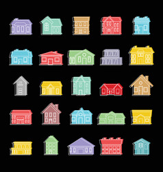 town house set doodle for vector image