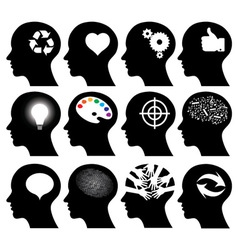 12 head icons vector image vector image