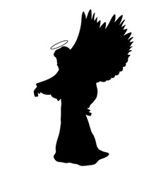 archangel silhouette christmas angel religious vector image