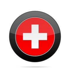 Flag of switzerland shiny black round button vector