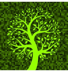 Green Tree icon on Green Pixel Background vector image vector image