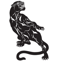 panther tattoo black white vector image vector image