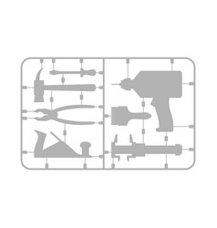 tools set plastic model kit drill and hammer vector image vector image