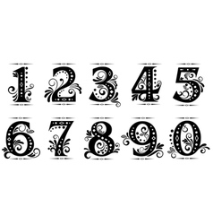 Vintage numbers set vector