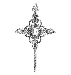 wrought-iron tomb cross vintage vector image vector image