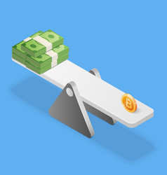 bitcoin and dollars stack on scales business vector image