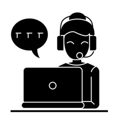 call center - woman laptop headset icon vector image