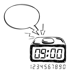 Digital Clock Bubble Speech vector image