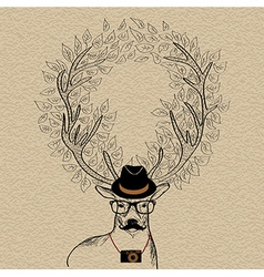 Hipster reindeer greeting card vector image vector image