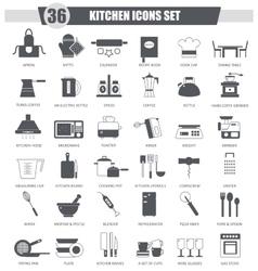 Kitchen black icon set Dark grey classic vector image