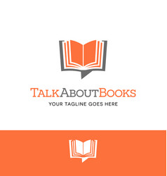 Open book shaped talk bubble logo or icon vector