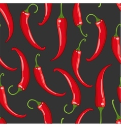 seamless pattern on dark with chilli pepper vector image vector image