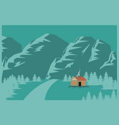 1 house in the mountains flat background vector image