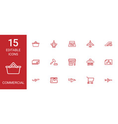 15 commercial icons vector image