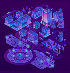3d isometric megapolis in ultraviolet vector
