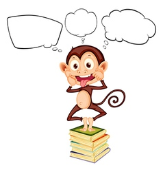 A monkey above the pile of books with empty vector image